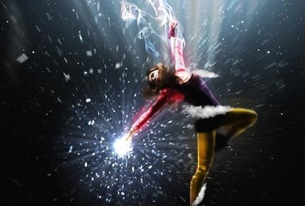 Flying Girl Photoshop Light Effect