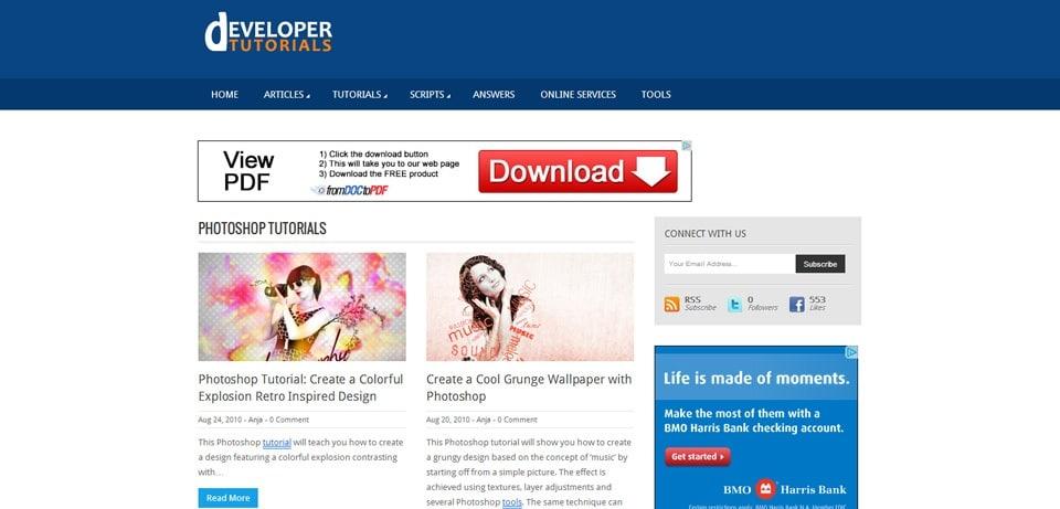 Developer Tutorials Photoshop Tutorials Website