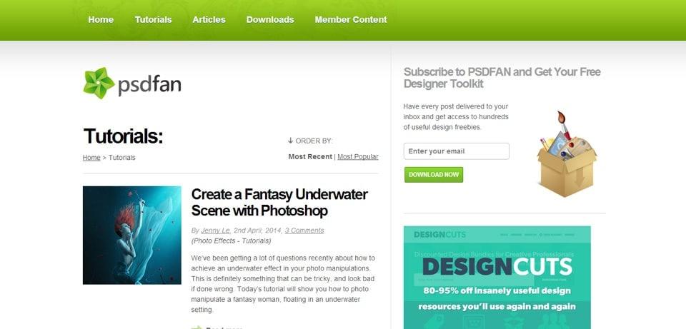 PSDFan Photoshop Tutorials Website