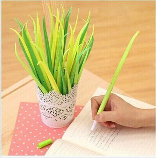Desk Gadget-Forest Green Grass-blade Ballpoint Silicon Grass Pen Black Ink Pack of 12