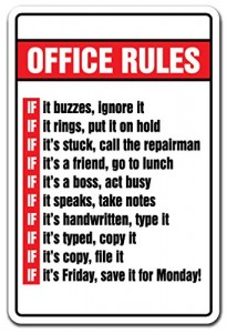 OFFICE RULES Novelty Sign gift boss Monday Friday Office Gift Ideas