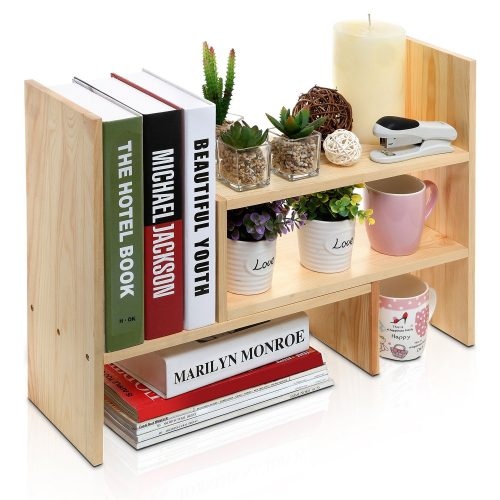 Adjustable Freestanding Natural Wood Desktop Storage Organizer Display Shelf Rack
