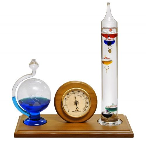 Lily's Home® Analog Weather Station with Galileo Thermometer, Hygrometer and Etched Glass Fluid Barometer