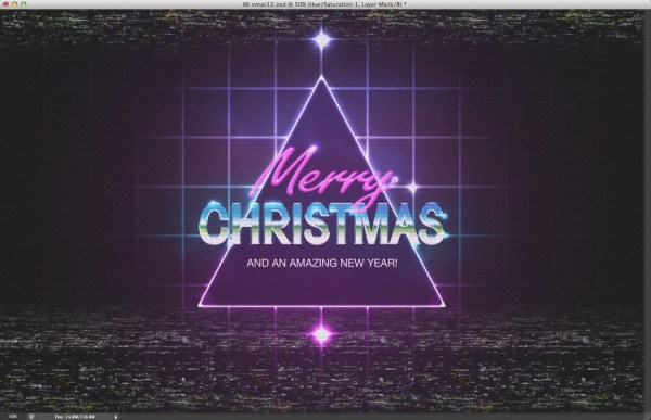 80s Christmas Artwork Photoshop Lighting Effect
