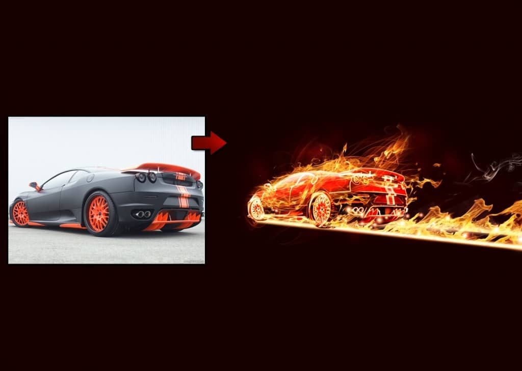 Flaming Car Photoshop Lighting Effects Tutorial
