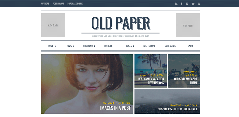 OldPaper Top Rated WordPress Themes for Bloggers