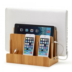 Bamboo Multi Device Charging Station and Cord Organizer for Smartphones desk Gadget
