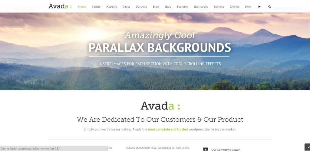 Avada Parallax WordPress Themes