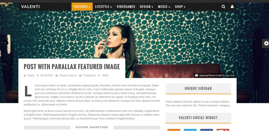 Valenti Parallax WordPress Themes
