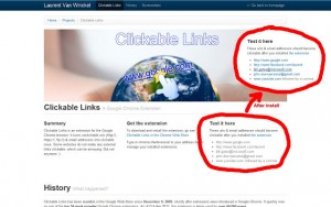 Clickable Links Chrome Extension
