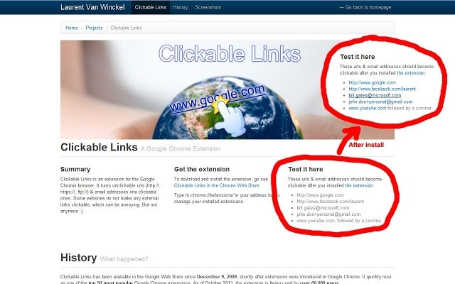 Clickable Links Chrome Extension