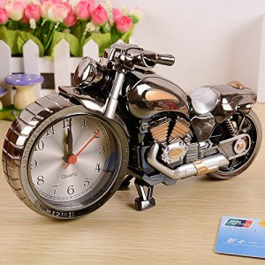 ZWZCYZ New Quartz Analog Office Gift IdeasTravel Desk Alarm Clock Time Motorcycle Model Battery Operated Home Office Gift