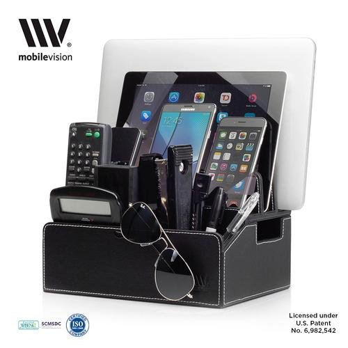 Mobilevision Charging Station Faux Leather Executive Stand