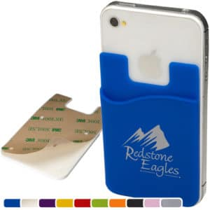 silicone cellphone pocket card holder wallet inexpensive promotional product ideas