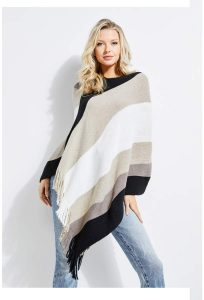 Guess Striped Asymmetrical Poncho Stylish Office Blankets