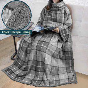 Premium Sherpa Fleece Blanket with Sleeves Stylish Office Blankets