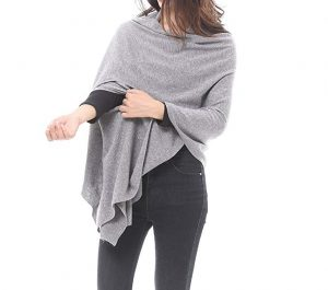Wool Blended Versatile Multi Style Long Knit Poncho Wrap Stylish Office Blankets